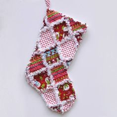 Christmas Stocking Rag Quilt Stocking Snowman by AnnsCraftHouse