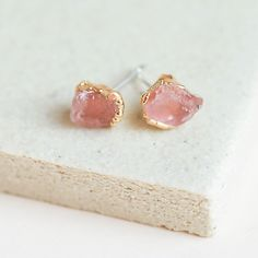 Rose Quartz Studs by Dani Barbe Raw Stone Jewelry, Raw Crystal Jewelry, Quartz Jewelry, Crystal Earrings, Stud Earrings, Rose Earrings, Stein Gold, Handmade Jewelry Findings, Crystals