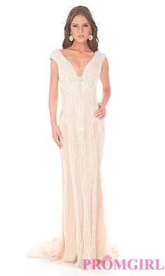 Floor Length V-neck Beaded Dress by Atria at PromGirl.com