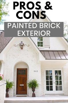 Painting the exterior brick is a great way to update and refresh your home. We are covering all the pros and cons of painted brick and trending colors. Painted White Brick House, Painted Brick Ranch, Painted Brick Exteriors, White Brick Houses, Brick Home Exteriors, Painted Brick Homes, House Siding, House Paint Exterior, Exterior House Colors