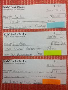 Writing checks, balancing checkbooks, and learning to live on a budget for kids.