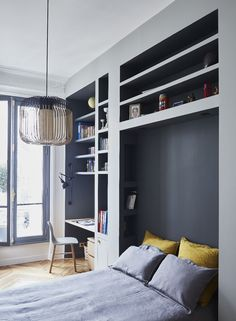 Designers of French studio GCGArchitectes have a great talent to take a classy Parisian apartment and make small masterpieces of modern design out of it. ✌Pufikhomes - source of home inspiration Childrens Bedroom Storage, Girls Bedroom Storage, Basement Guest Rooms, Guest Room Office, Home Bedroom, Modern Bedroom, Bedroom Carpet, Bedrooms, Small Home Offices