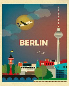 Berlin, Germany Skyline - 8 x 10 Vertical Wall Art Poster Print for Home, Office, and Nursery - style Retro Poster, Poster Art, Kunst Poster, Poster Prints, Art Prints, Posters Paris, Berlin City, Berlin Wall, Vintage Travel Posters