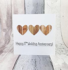 5th anniversary card Wood wedding anniversary card Handmade | Etsy Baby Girl Cards, New Baby Cards, Your Cards, Happy Anniversary Husband, 5th Wedding Anniversary, Birthday Card With Name, Birthday Cards, Etsy Shop Names, My Etsy Shop
