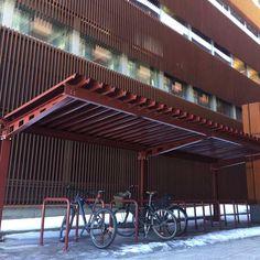 Finland: FalcoHoth fietsoverkaping met fietsaanleunbeugels, in bruin gepoedercoat. Finland, Outdoor Decor