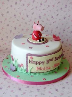 Peppa Pig Cake by RubyteaCakes, via Flickr Beautiful Cakes, Amazing Cakes, Bolo Da Peppa Pig, Fiestas Peppa Pig, 2 Birthday Cake, Birthday Ideas, Pig Party, Cake Party, Character Cakes