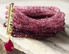 Pink Tourmaline MultiStrand Beaded Gemstone by TeeceTorreJewelry