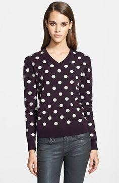 Burberry Brit Polka Dot Cotton & Cashmere V-Neck Sweater @Nordstrom