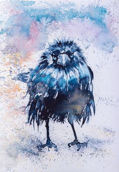 Crow Giclée print (from a painting) by KAB 12 x 8 inch #Impressionism