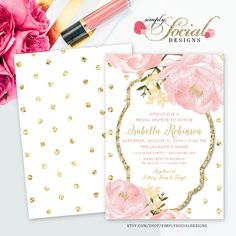 Romantic Garden Peonie Flowers Blush Pink and Gold Polka Dots Bridal Shower Invitation Double Sided Printable
