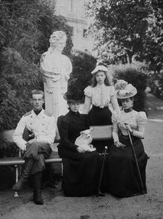 Grand Duke Mikhail Alexandrovitch, Dowager Empress Maria Feodorovna, Grand Duchess Olga Alexandrovna and Grand Duchess Xenia Alexandrovna - Gatchina 1898.