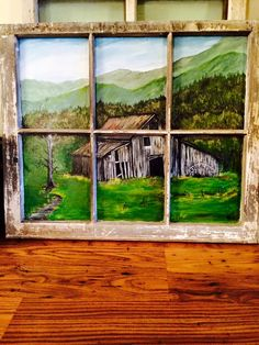 Antique Window I painted an old barn scene on the glass. Love them old barns. Painted Window Panes, Window Pane Art, Old Window Frames, Window Ideas, Old Windows Painted, Old Window Art, Antique Windows, Vintage Windows, Old Window Projects