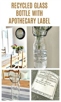 Recycle an old bottle by adding a transferred apothecary label and give it a whole new purpose! Apothecary Bathroom, Apothecary Bottles, Altered Bottles, Recycled Glass Bottles, Old Bottles, Thrift Shop Finds, Do It Yourself Decorating, Green Craft, Label Templates