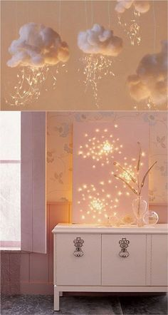 18 super creative and magical ways to use string lights to add beauty to everyday home decor! String lights are NOT just for Christmas decorations. Try these inspiring ideas today! - A Piece of Rainbow diy apartment creative 18 Magical String Lights Deco Decoration Bedroom, Decor Room, Home Decoration, Room Lights Decor, Twinkle Lights Decor, Diy Room Decor For Girls, Teen Decor, Kids Decor, Magic House