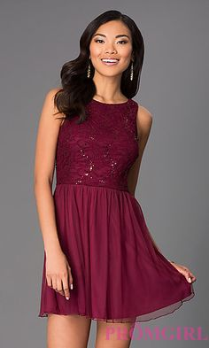Short Sleeveless Scoop Neck Dress at PromGirl.com