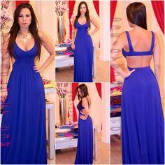 Electric Blue open back long dress Shop online at www.geidyscloset@me.com Follow us on Instagram  Geidysclosetboutique