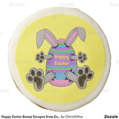Happy Easter Bunny Escapes from Easter Egg Sugar Cookie  Photo Cookies bunny, rabbit, bunnies, rabbits, happy easter, easter, eggs, easter eggs, holiday, pastel, for baby, bunny rabbits, bunny escapes from egg, bunny escapes from easter egg, Sugar Cookie