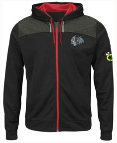 Majestic Chicago Blackhawks Nhl Men's Hashmarks Full Zip Hooded Jacket - Black L