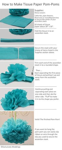 Instructions from Exclusively Weddings' blog on how to make tissue paper pom-poms.