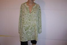 Shirt Blouse Plus 18W-20W WHITE STAG Sheer Button Front 3/4 Sleeves Womens #WhiteStag #ButtonDownShirt #Casual