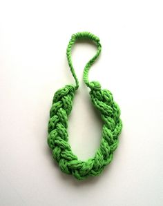 Upcycled T Shirt Yarn Braided Necklace  Bright by pinkpoppyseed, $22.00 >>> Love to wear upcycled