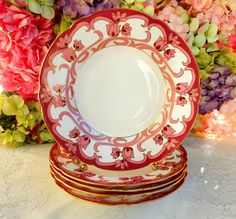 5 Gorgeous Antique Wileman Foley Porcelain Rimmed Soup Bowls Pink Flowers Gold  #TheFoleyChina
