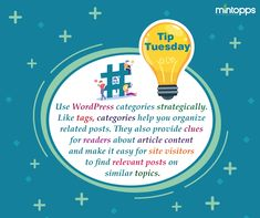 👉Tip Tuesday Use WordPress categories strategically. Like tags, categories help you organize related posts. They also provide clues for readers about article content and make it easy for site visitors to find relevant posts on similar topics.