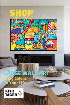 """This large pop art style canvas print of an original work offers the viewer a blast of over-saturated palms, comic-style characters and a funky streetscape. The artwork, """"Cancun"""", brings us to the free-spirited streets of Mexico's coastal destination through a fascinating mix of vibrancy and personality.If you are looking to add a big pop of color to your space, this unique and captivating piece will energize any room from modern office spaces to kid's bedrooms. Modern Art For Sale, Modern Pop Art, Wall Art Prints, Canvas Prints, Graffiti Wall Art, Graffiti Styles, Colorful Wall Art, Extra Large Wall Art, Modern Artists"""