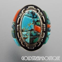 NATIVE AMERICAN ALBERT FRANCISCO NAVAJO STERLING SILVER MULTI GEMSTONE INLAY COMPLEX RING SIZE 6.5
