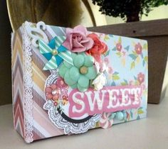 MOMZ Premade Chip Board Coin Envelope Style Mini Scrapbook Album *Adriana*