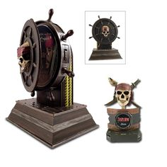 """Disneys Pirates of the Carabbean DVD Player and Alarm Clock Bundle. Perfect for any boy and girl who is in love with the canticy of the Pirates of the Caribbean.Radio Features:Wake to Radio, Buzzer, or custom Pirates songSnooze functionBattery backup keeps time in case of power failure (2 x AA batteries required)Analog AM/FM radioRed LED light in each eye socketAnimated jaw that moves with alarm /voicesAC PowerDimensions: L 7.48"""""""" x W 5"""""""" x H 10.16""""""""DVD Player Features:Features:DVD video and…"""