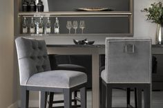 Create your house color with a particular bar stool! Encourage yourself with this idea! Unique Bar Stools, Grey Bar Stools, Bar Chairs, Interior Design Gallery, Decor Interior Design, Create Your House, Black Kitchen Island, Game Room Bar, Kitchen Stools