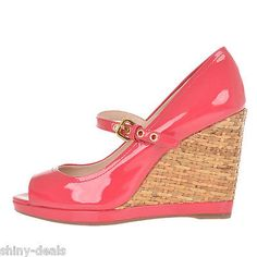 PRADA New Woman Pink Patent Leather Straw Wedge Open Toe Sandals Shoes 37.5 $411
