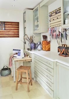 Add a Crafts Room    With white walls and green cabinets, a basement crafts room can have a sunny outlook. Smart storage includes shallow drawers for wrappings, dowels for ribbon spools, and cubbies for tools and supplies.