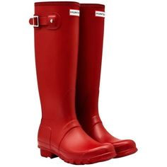 Women's Hunter Original Tall Wellington Boots - Red ($135) ❤ liked on Polyvore featuring shoes, boots, waterproof rubber boots, red boots, hunter boots, knee high rain boots and wellington boots