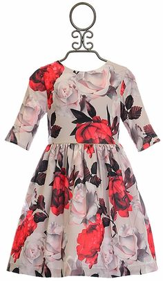 Patachou Designer Dress for Girls with Flowers (Size Tween Party Dresses, Girls Special Occasion Dresses, Holiday Dresses, Girls Boutique Dresses, Girls Dresses, Kids Outfits Girls, Girl Outfits, Amanda, Red And Pink Roses