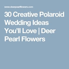 30 Creative Polaroid Wedding Ideas You'll Love | Deer Pearl Flowers
