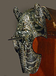 16th Century Horse helmet (mascaron) with unicorn horn from Farnese Armour at the Austrian Kunsthistorisches museeum (Art and History)