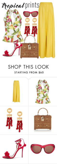 TROPICAL PRINTS by littlefeather1 on Polyvore featuring Isolda, ADAM, WithChic, Dolce&Gabbana, Balmain, Dries Van Noten, tropicalprints and hottropics