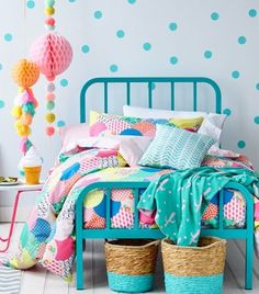 Adairs Kids Lena Quilt Cover Set, kids quilt covers, kids doona covers - love the pops of colour against a white backdrop.