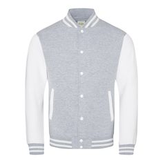 Just Hoods JH043 Heather Grey and Arctic White Varsity Jacket - £19.35