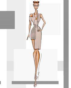 Creativity in the design of geometric shapes (square). Dress Design Sketches, Fashion Design Sketchbook, Fashion Design Portfolio, Fashion Design Drawings, Fashion Drawing Tutorial, Fashion Figure Drawing, Fashion Drawing Dresses, Dress Fashion, Fashion Illustration Collage