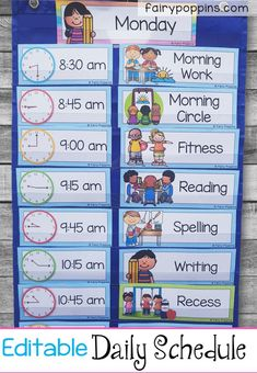 Back to School Printables This editable daily schedule helps kids see a visual timetable of their day ahead. It includes time cards with clocks and a variety of subject labels. There are also days of the week labels. Preschool Classroom Schedule, Kindergarten Schedule, Kindergarten Lesson Plans, Preschool Learning, Preschool Activities, School Schedule Printable, Daycare Schedule, Class Schedule, Days Of The Week Activities