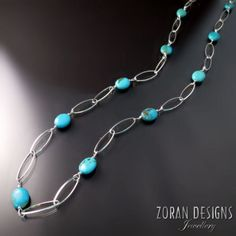 Jewellery with Turquoise - silver necklace dotted with turquoise