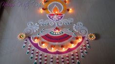 Beautiful Diya Rangoli Designs With Colours - For Festivals and Competit. Diya Designs, Indian Rangoli Designs, Colorful Rangoli Designs, Rangoli Designs Images, Beautiful Rangoli Designs, Mehandi Designs, Art Designs, Rangoli Colours, Rangoli Patterns
