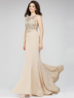 Sheath/Column Jewel Sleeveless Jersey Crystal Sweep/Brush Train Dresses