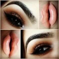 Peach Lips With Winged Eyeliner