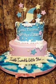 Baby shower cake twinkle twinkle little star Nikki Baby, Christening Cakes, Double Shower, Gender Party, Star Baby Showers, Moon Cake, Baby Shower Gender Reveal, Twinkle Twinkle Little Star, Reveal Parties