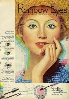 """Vintage Makeup Rainbow Eyes by Yardley From Mademoiselle, May 1972 I was affectionately known as: """"Rainbow Eyes"""" while flying for PSA - From Mademoiselle, May 1972 1970s Makeup, Vintage Makeup Ads, Retro Makeup, Vintage Ads, Eye Makeup, Vintage Trends, Vintage Cameras, Vintage Shoes, Vintage Posters"""