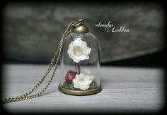 Antikbronze Kette Glaskuppel echte Blüten von byschmuckesLaedchen